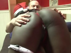 Christmas porn video. Santa fucks Snow Maiden. Sex in front of  Christmas tree.