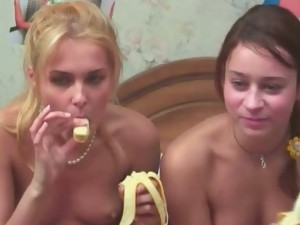 Banana sex videos. The girl put her banana into his hole. The Big Banana in a narrow pussy.